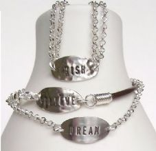 "Gorgeous Personalised ""BELIEVE"", ""DREAM or ""WISH"" Sterling Silver Charm Bracelet Unique Gift"